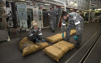 Royal Australian Navy seizes EIGHT TONNES of hashish and heroin in the Arabian Sea – marking record haul worth almost half a billion dollars